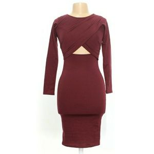Front Cut Out Jersey Bodycon Long Sleeve Dress